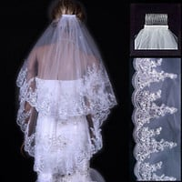 New 2 Tiers White/Ivory Wedding Bridal Veil for Brides Sequined Lace with Comb