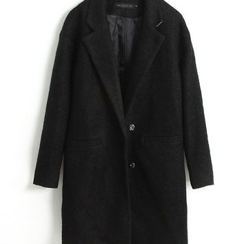 Long Sleeve Notched Collar Woolen Coat