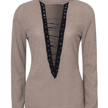 Apricot Roll Neck Lace Up Front Rib Knitted Sweater