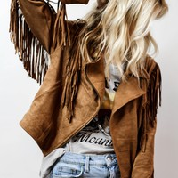 Texas Crop Fringe Jacket