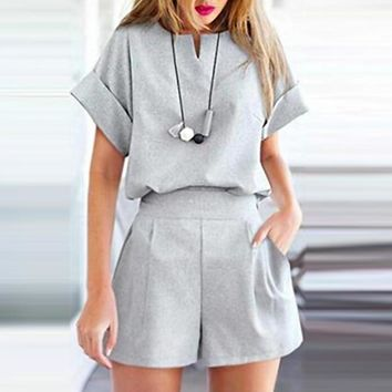 Summer Fashion Women Slim Plus-Size Short Sleeve Top Shorts Two Piece Set Grey
