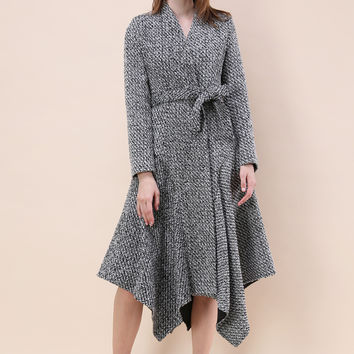 Marvelous Asymmetric Tweed Longline Coat