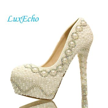 new arrival pearl white fashion women's wedding pumps high heel platform wedding shoes gentlewomen bridal shoes