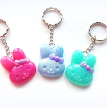 Kawaii bunny head keychain, cute rabbit charm, blue, pink, green bunny pendant, polymer clay charms, Sweet lolita, fairy kei jewelry, Japan