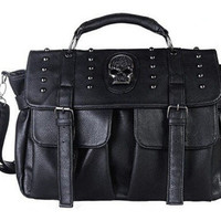 Black Punk Style Skull Studded Crossbody Clutch Handbag with Detachable Strap