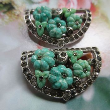 Vintage Pair KTF Molded Glass Flowers Clips
