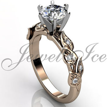 14k rose gold diamond unusual unique floral engagement ring, bridal ring, wedding ring, anniversary ring ER-1112-3