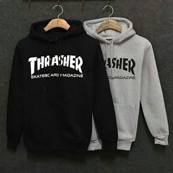 Hot Fashion Unisex Thrasher Print Long Hoodies Pullover