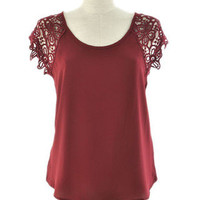 Burgandy Crochet Sleeve Top | Bellum&Rogue
