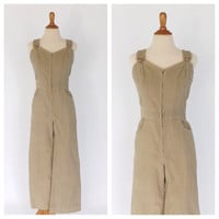 Vintage 1960s 1970s Womens Overalls Oatmeal Tan Corduroy Bib Overalls Boho 70s Jumper Hipster Hippie Retro Jumpsuit Size Small Coveralls