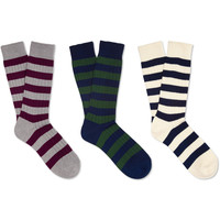 Beams Plus Three-Pack Striped Cotton-Blend Socks | MR PORTER