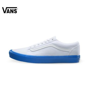 Original Vans White and Blue Color Men's and Women's Unisex Skateboarding Shoes Sport