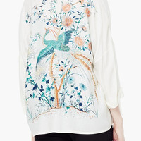 White Phoenix And Floral Leaves Print 3/4 Sleeve Kimono