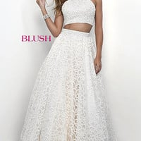 Long Two Piece Blush Prom Dress