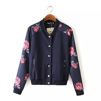 Navy Rose Print Button Jacket