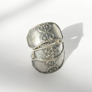 Armor Silver Ring Adjustable Victorian Style Statement Vintage Jewelry