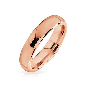 Thin Dome Couple Wedding Band Shiny Rose Gold Plated Tungsten Ring 4mm