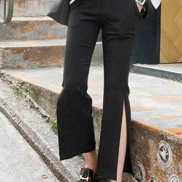 Solid Color Side Slits Straight Cut Pants
