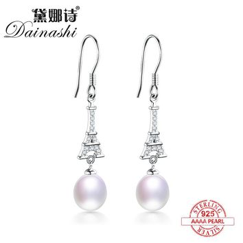 Dainashi limited sale 925 sterling silver eiffel tower shape real natural pearl drop/long earrings fine jewelry for femmes