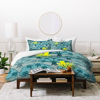 Raven Jumpo Octopus Among The Coral Duvet Cover