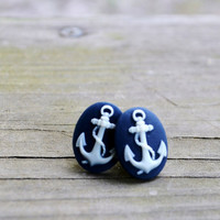Anchor Earrings - Stud Earrings - Nautical - Navy Blue