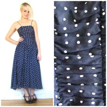 70s does 50s vintage dress / Blue polka dot dress / Swing dress / Preppy 1950s 1970s cotton dress size xs