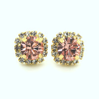 Stud earrings pink blush,bridesmaids jewelry,bridal earrings - 14k plated gold post earrings real swarovski rhinestones.