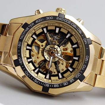 Hot Sale Luxury Golden Luminous Automatic Mechanical Skeleton Dial Stainless Steel Band Wrist Watch Men Women Best Gift M106-1