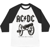 AC/DC Men's  For Black Logo Baseball Jersey Black & White