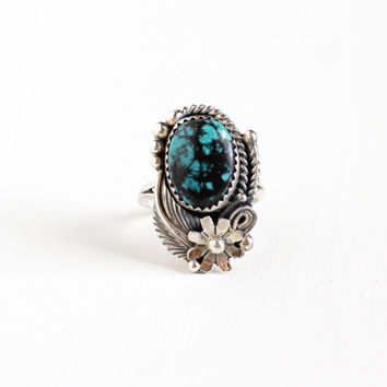 Vintage Sterling Silver Blue & Black Turquoise Stone Ring - Sz 7.5 Retro Southwestern Statement Native American Style Studded Flower Jewelry