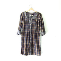 Vintage plaid dress / Grunge Shirt Dress / cotton flannel tunic