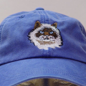 HIMALAYAN CAT HAT - One Embroidered Men Women Cap - Price Embroidery Apparel - 24 Color Caps Available