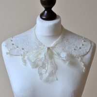Detachable Collar Lace Collar Vanilla Ivory Cream Peter Pan Collar with Detachable Pastel Ribbon Bows Lolita English Collar