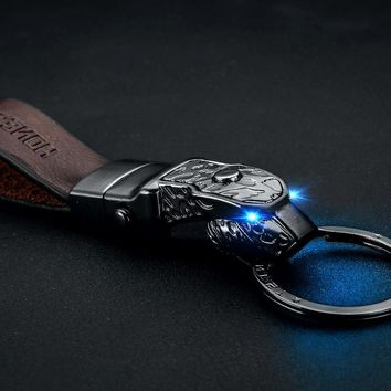 Leopard head LED light keychain genuine leather car key chain key holder high quality sleutelhanger chaveiro llaveros hombre