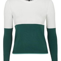 Clean Colour Block Sleeve Top - Green