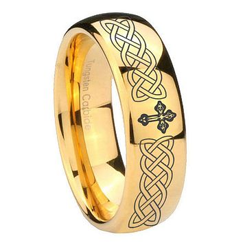 8MM Mirror Dome Celtic Cross 14K Gold IP Tungsten Carbide Laser Engraved Ring