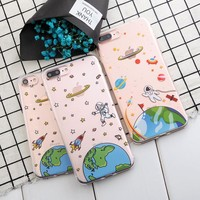 SoCouple For iphone 5s 5 SE 6 6s 6/7/8plus 8 Case Airship Astronaut Space UFO Stars Soft Silicone Phone Case For iphone 7 case