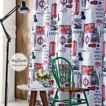 London Style Blackout Curtains For Living Room Bedroom Children Boys Girls Cartoon Window Shade Screens