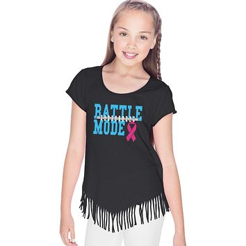 Girls Breast Cancer T-shirt Battle Mode Fringe Tee