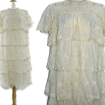 Vintage 70s Gossamer Styled by Hal Ferman Prairie White Floral Lace Shift Dress