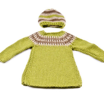 Knitting toddler set, knitting dress and hat, green girls dress and hat,