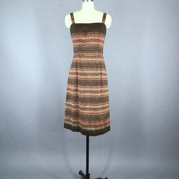 Vintage 1960s Dress / Sundress / Ikat Print / Vintage Day Dress / Summer Dress / Mad Men / Size Medium M