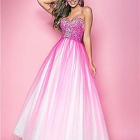 Hot Pink Sequin Ombre Tulle Strapless Lace Up Prom Gown - Unique Vintage - Cocktail, Pinup, Holiday & Prom Dresses.
