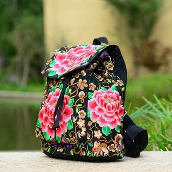 Woman backpack embroidery red azalea peony flower women bag string rope flap pocket