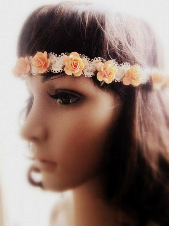 Crochet Hair Garland : Bohemina Headband Peach Flower Rose from Jewelsalem on Etsy