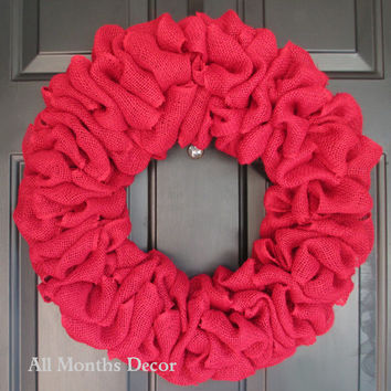 Red Burlap Wreath, Simple, Plain, Rustic Country Decor, Fall Winter Christmas Holiday Year Round, Fall, Porch Door