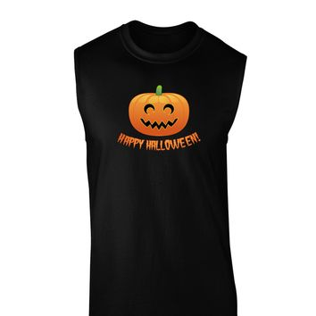 Happy Halloween Jack-o-lantern Dark Muscle Shirt