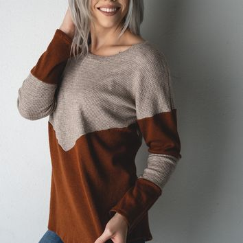 Rust and Oatmeal Two Tone Colorblock Top (S-XL)