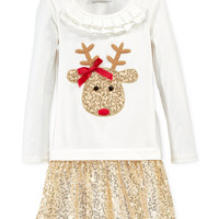 Bonnie Jean Little Girls' Sequined Reindeer Dress