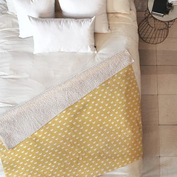 Allyson Johnson Dainty Yellow Hearts Fleece Throw Blanket